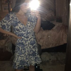 Floral pattern white and blue dress